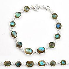 22.22cts natural blue labradorite 925 sterling silver tennis bracelet r36642