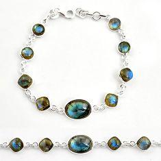 23.26cts natural blue labradorite 925 sterling silver tennis bracelet r36643