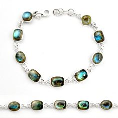 26.16cts natural blue labradorite 925 sterling silver tennis bracelet r36645