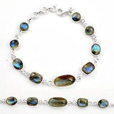 26.70cts natural blue labradorite 925 sterling silver tennis bracelet r36646