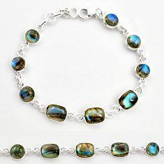 23.06cts natural blue labradorite 925 sterling silver tennis bracelet r36647