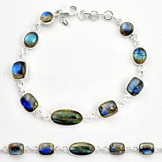 26.70cts natural blue labradorite 925 sterling silver tennis bracelet r36650