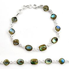 23.09cts natural blue labradorite 925 sterling silver tennis bracelet r36652