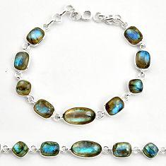 27.08cts natural blue labradorite 925 sterling silver tennis bracelet r36654
