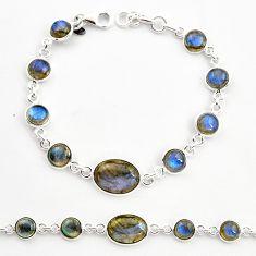 18.51cts natural blue labradorite 925 sterling silver tennis bracelet r36655