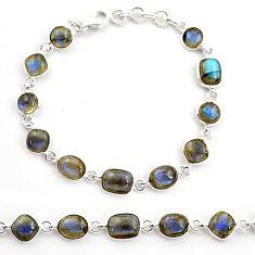 21.32cts natural blue labradorite 925 sterling silver tennis bracelet r36656