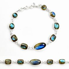 24.62cts natural blue labradorite 925 sterling silver tennis bracelet r36658