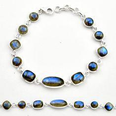 26.08cts natural blue labradorite 925 sterling silver tennis bracelet r36660