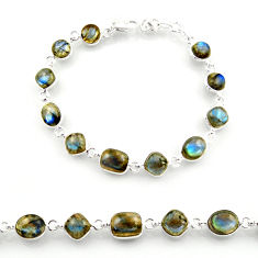 26.16cts natural blue labradorite 925 sterling silver tennis bracelet r38239