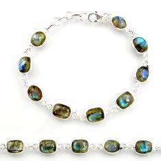 26.16cts natural blue labradorite 925 sterling silver tennis bracelet r38718