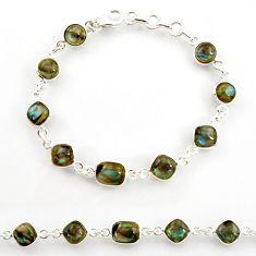 22.23cts natural blue labradorite 925 sterling silver tennis bracelet r38719