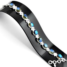 38.31cts natural blue labradorite 925 sterling silver tennis bracelet r39062