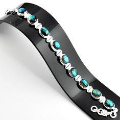 37.45cts natural blue labradorite 925 sterling silver tennis bracelet r39065