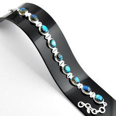 37.02cts natural blue labradorite 925 sterling silver tennis bracelet r39066