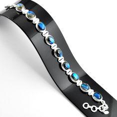 37.86cts natural blue labradorite 925 sterling silver tennis bracelet r39069