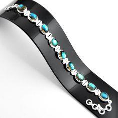 38.19cts natural blue labradorite 925 sterling silver tennis bracelet r39072