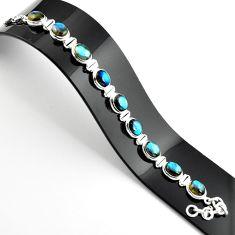 39.09cts natural blue labradorite 925 sterling silver tennis bracelet r39075