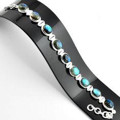 38.68cts natural blue labradorite 925 sterling silver tennis bracelet r39078