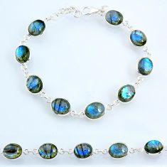 28.59cts natural blue labradorite 925 sterling silver tennis bracelet r69372