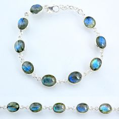 28.62cts natural blue labradorite 925 sterling silver tennis bracelet r69375
