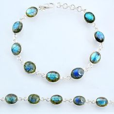 28.07cts natural blue labradorite 925 sterling silver tennis bracelet r69379