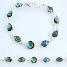 23.16cts natural blue labradorite 925 sterling silver tennis bracelet r69399