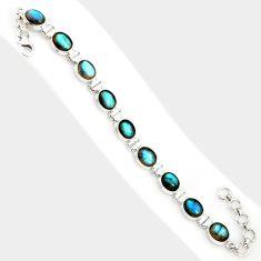 38.31cts natural blue labradorite 925 sterling silver tennis bracelet r84303