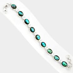 37.86cts natural blue labradorite 925 sterling silver tennis bracelet r84305
