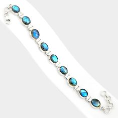36.96cts natural blue labradorite 925 sterling silver tennis bracelet r84307