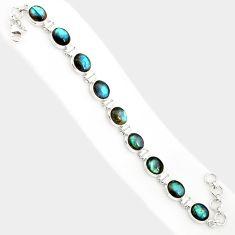 38.19cts natural blue labradorite 925 sterling silver tennis bracelet r84309