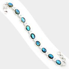 36.67cts natural blue labradorite 925 sterling silver tennis bracelet r84310
