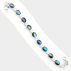 37.43cts natural blue labradorite 925 sterling silver tennis bracelet r84311