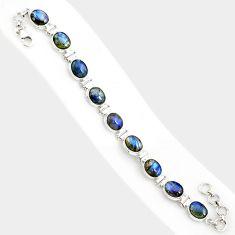 37.78cts natural blue labradorite 925 sterling silver tennis bracelet r84313