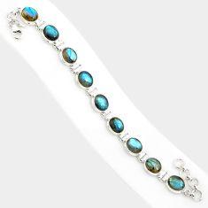 39.48cts natural blue labradorite 925 sterling silver tennis bracelet r84314