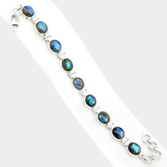 38.72cts natural blue labradorite 925 sterling silver tennis bracelet r84315