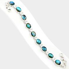 37.84cts natural blue labradorite 925 sterling silver tennis bracelet r84317