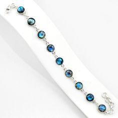 25.93cts natural blue labradorite 925 sterling silver tennis bracelet r84881