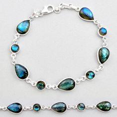 22.55cts natural blue labradorite 925 sterling silver tennis bracelet t19601