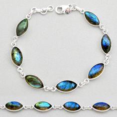 24.38cts natural blue labradorite 925 sterling silver tennis bracelet t19602
