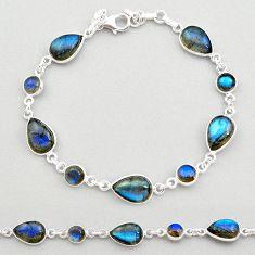 23.48cts natural blue labradorite 925 sterling silver tennis bracelet t19603