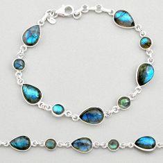 23.04cts natural blue labradorite 925 sterling silver tennis bracelet t19605