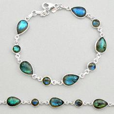 22.54cts natural blue labradorite 925 sterling silver tennis bracelet t19606