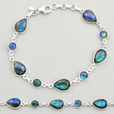 22.59cts natural blue labradorite 925 sterling silver tennis bracelet t19608