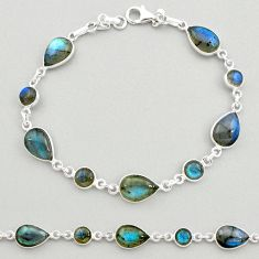 23.11cts natural blue labradorite 925 sterling silver tennis bracelet t19614