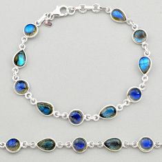 18.13cts natural blue labradorite 925 sterling silver tennis bracelet t19616