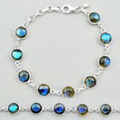24.53cts natural blue labradorite 925 sterling silver tennis bracelet t19642
