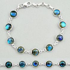 23.46cts natural blue labradorite 925 sterling silver tennis bracelet t19643