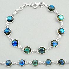 24.52cts natural blue labradorite 925 sterling silver tennis bracelet t19646
