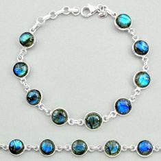 24.76cts natural blue labradorite 925 sterling silver tennis bracelet t19647