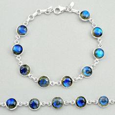 24.44cts natural blue labradorite 925 sterling silver tennis bracelet t19648